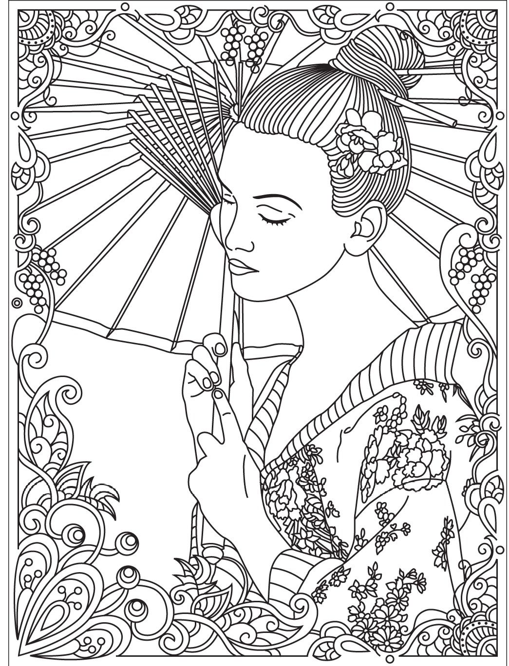 Japan Geisha Colorish Coloring Book For Adults Mandala Relax By Goodsofttech Detailed Coloring Pages Coloring Books Coloring Pages