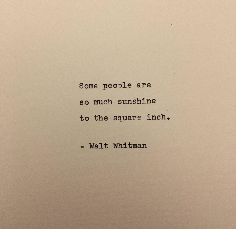 Walt Whitman quote typed on typewriter  unique gift | Etsy