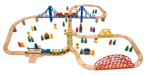 Carousel Wooden Train Set 100 Piece Aedels Trains Wooden