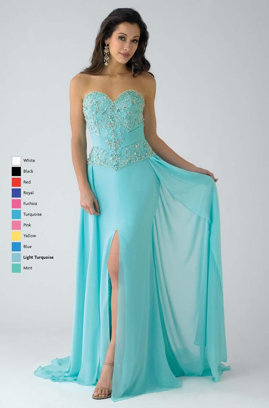 Aqua Column Sweetheart and Strapless Low Back Sweep Train Prom ...