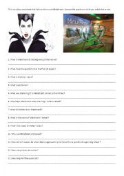 English worksheet: Maleficent Movie Worksheet | Places to Visit