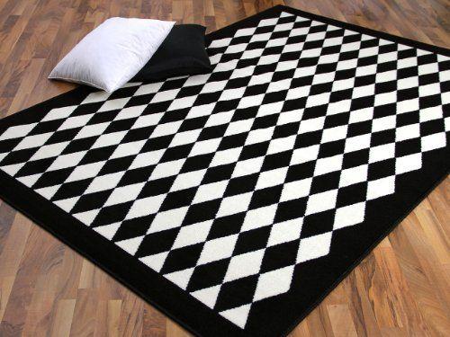 Teppich Trendline Schwarz Weiß Raute 4 Größen Amazonde Küche - teppiche für die küche
