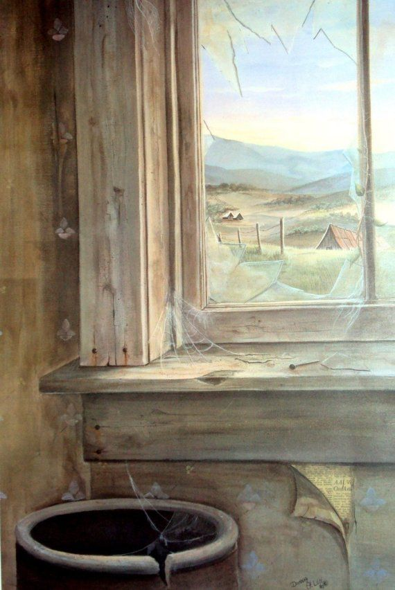 Abandoned House with broken Window and Farm by bigapple60 on Etsy, $26.00