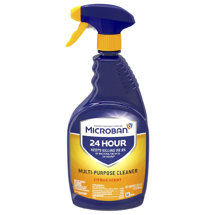 Microban 24 Hour Multi Purpose Cleaner And Disinfectant Spray Citrus In 2020 Multipurpose Cleaner Disinfectant Spray Bathroom Cleaner