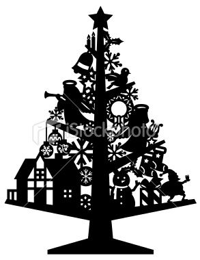 silhouette of deco christmas tree illustrations. Black Bedroom Furniture Sets. Home Design Ideas