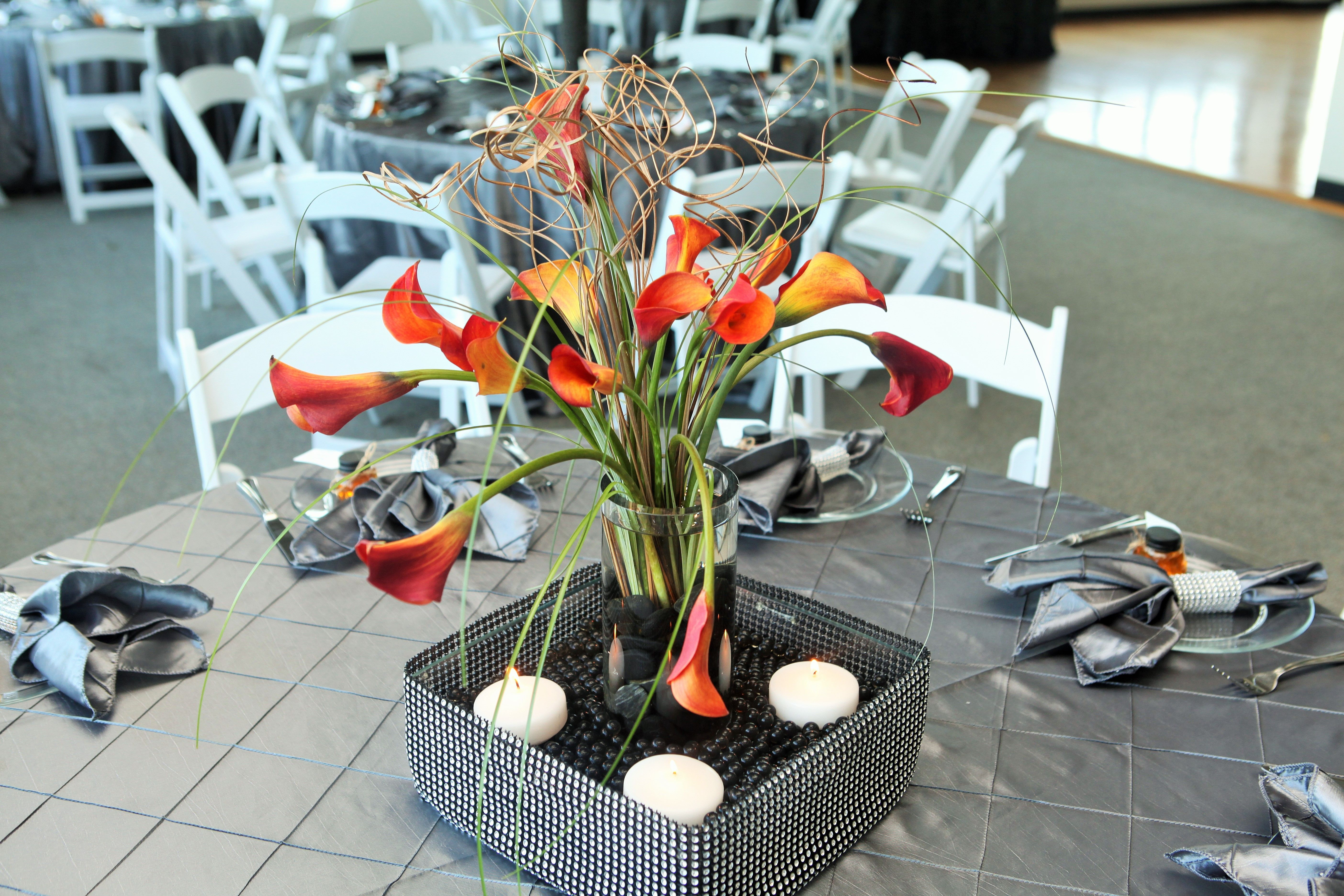 Square Glass Wrapped In Bling Ribbon Wedding Centerpiece With Orange