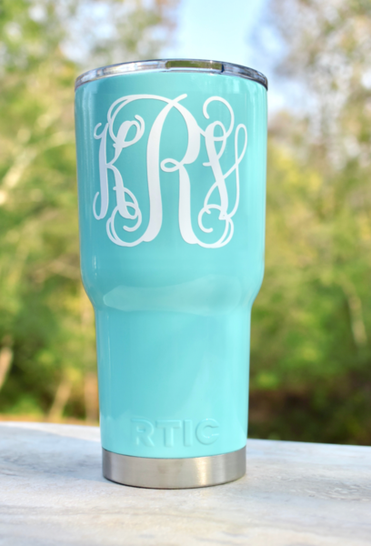 Teal Colored Rtic Personalized Rtic 30 Oz Stainless Steel Tumbler With Lid Monog Personalized Bridesmaid Gifts Personalized Tumblers Bridesmaid Gifts Unique