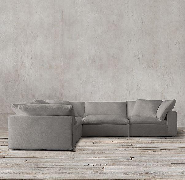 Petite Cloud Modular Slipcovered Corner Sectional Corner Sectional Modular Sofa Comfortable Sofa
