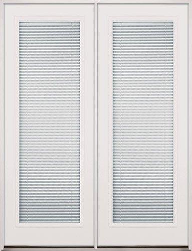 8 0 Tall Mini Blinds Fiberglass Patio Prehung Double Door Unit
