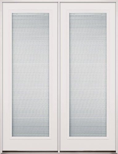 Discount 8 0 Tall Mini Blinds Fiberglass Patio Prehung Double Door Unit Double Doors Interior Mini Blinds Blinds