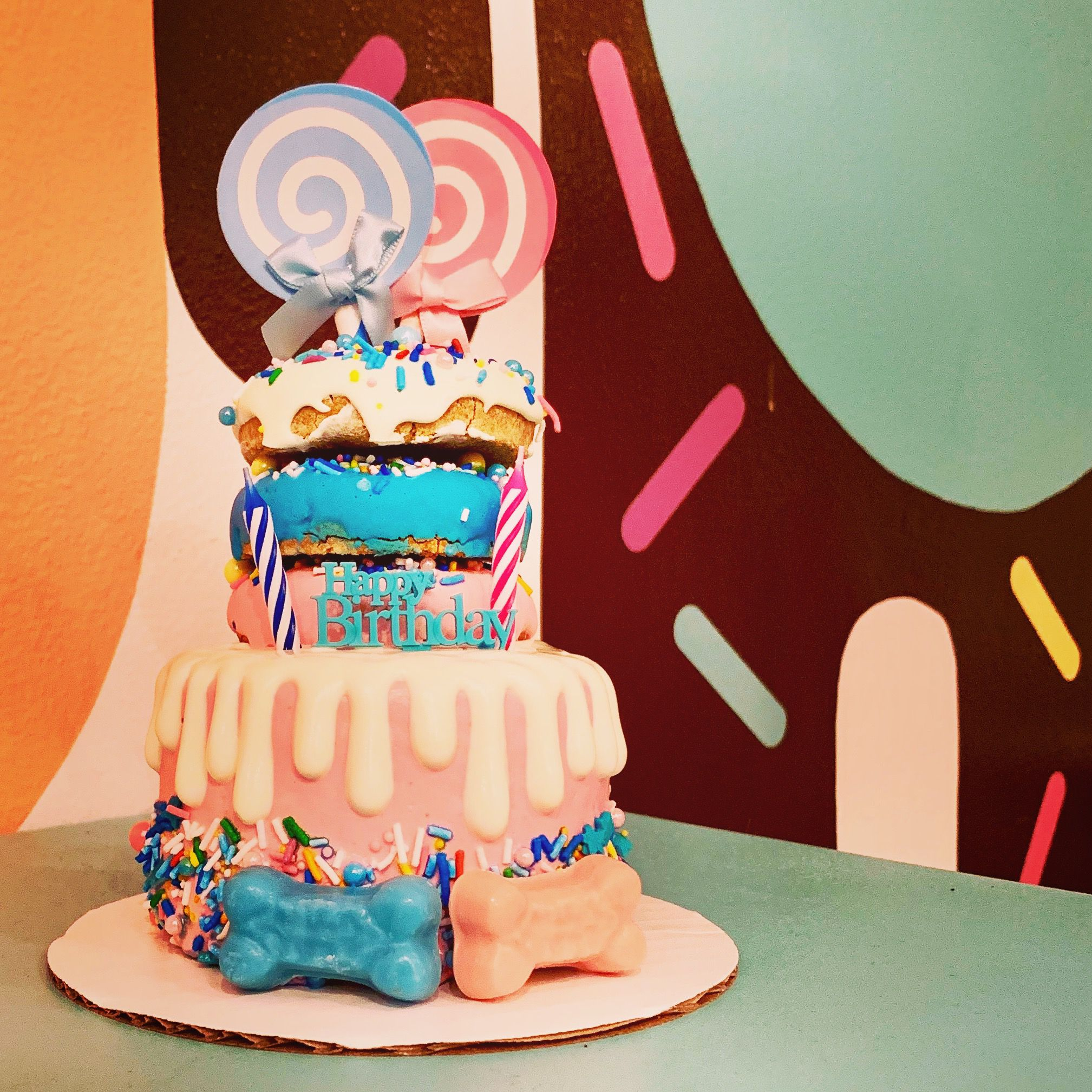 Dog Birthday Cake With Donuts By Bakery Bow Wow Beauty Shoppe San Diego CA