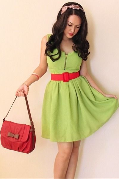 Lime green dress, red bag, tan peep-toe charles keith heels