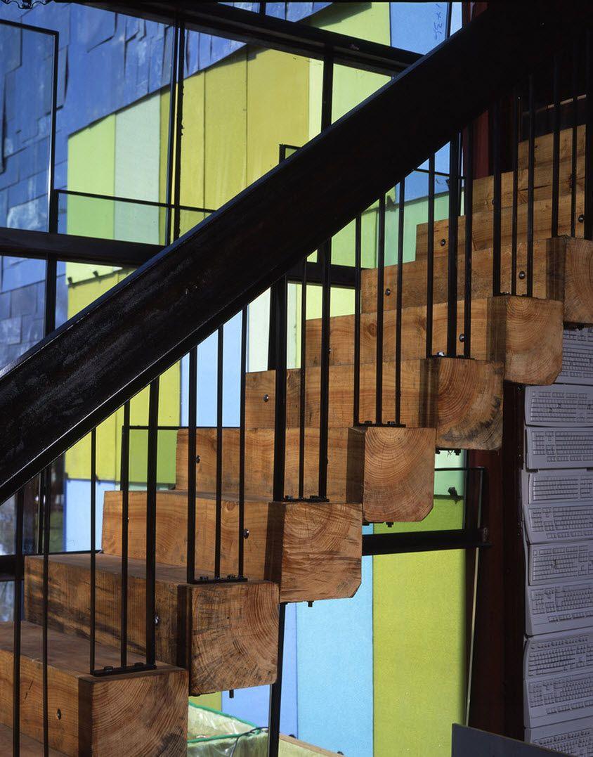 diseo de escaleras con peldaos de troncos de madera