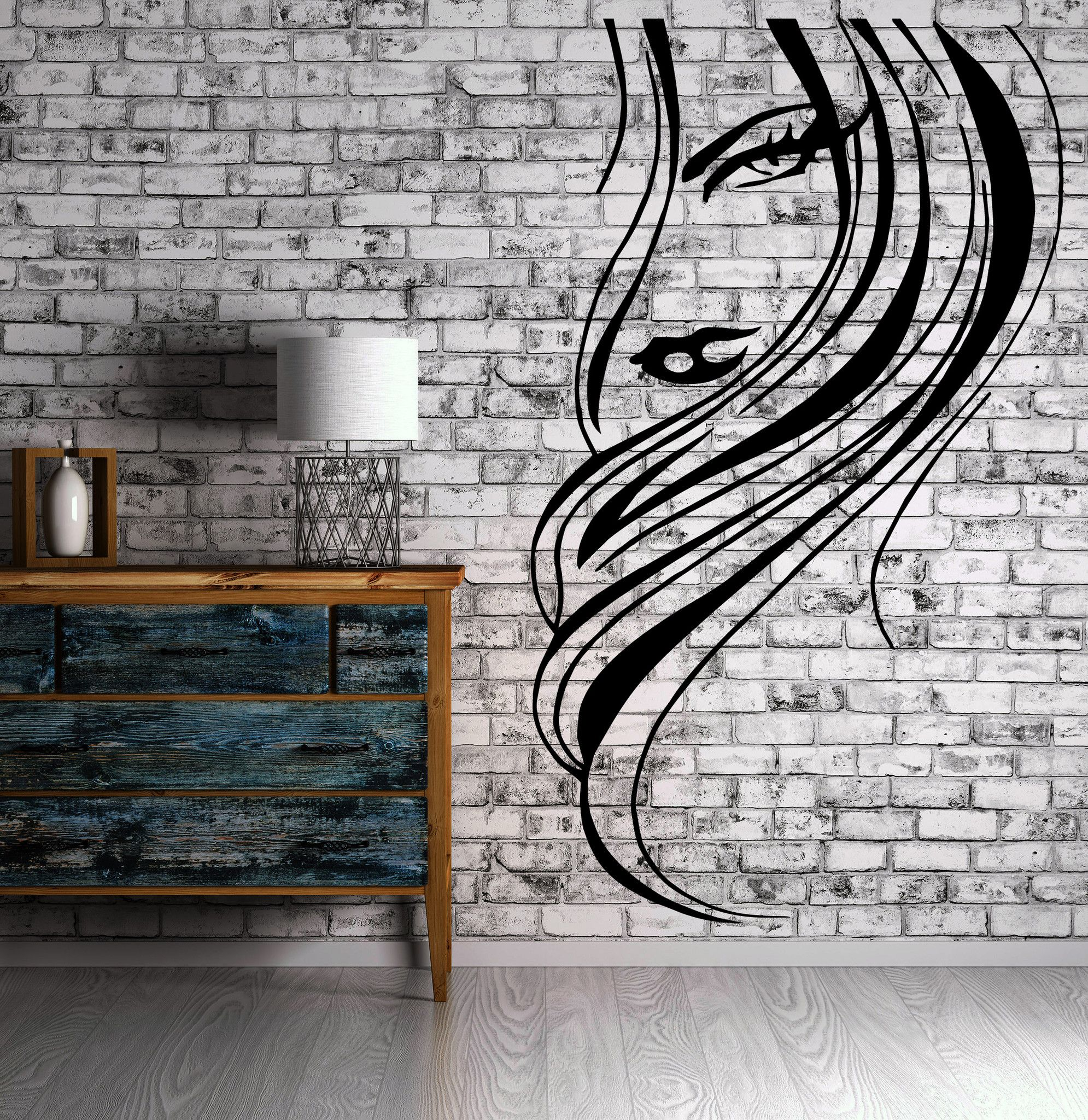 Design house hair - Beautiful Woman Face Sexy Lips Hair Decor Wall Mural Vinyl Decal Sticker M422