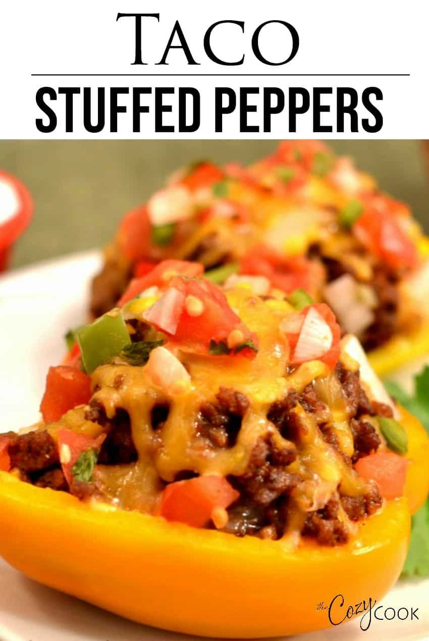 These Healthy Low Carb Taco Stuffed Peppers Are Oven Baked And Can Be Made With Ground Beef Turk Stuffed Peppers Taco Stuffed Peppers Stuffed Peppers Healthy