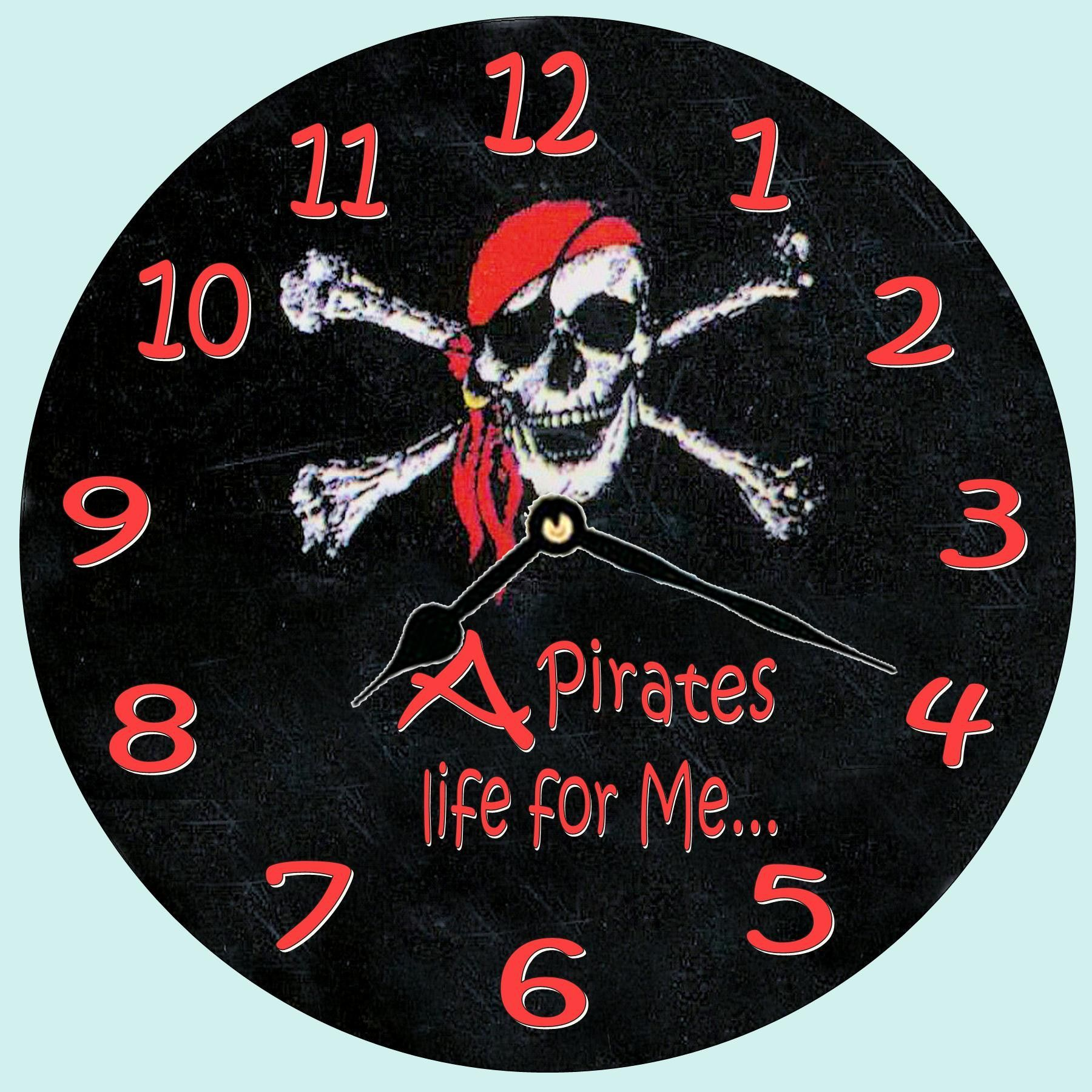 A Pirates Life For Me Jolly Roger Pirate Wall Clock Wall Clocks