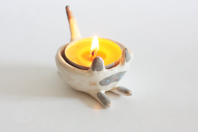 Ceramic Siamese Сat/Ceramic Candle Holder/ Small Ceramic Cat/ Tealight Holder/ Tealight Bowl