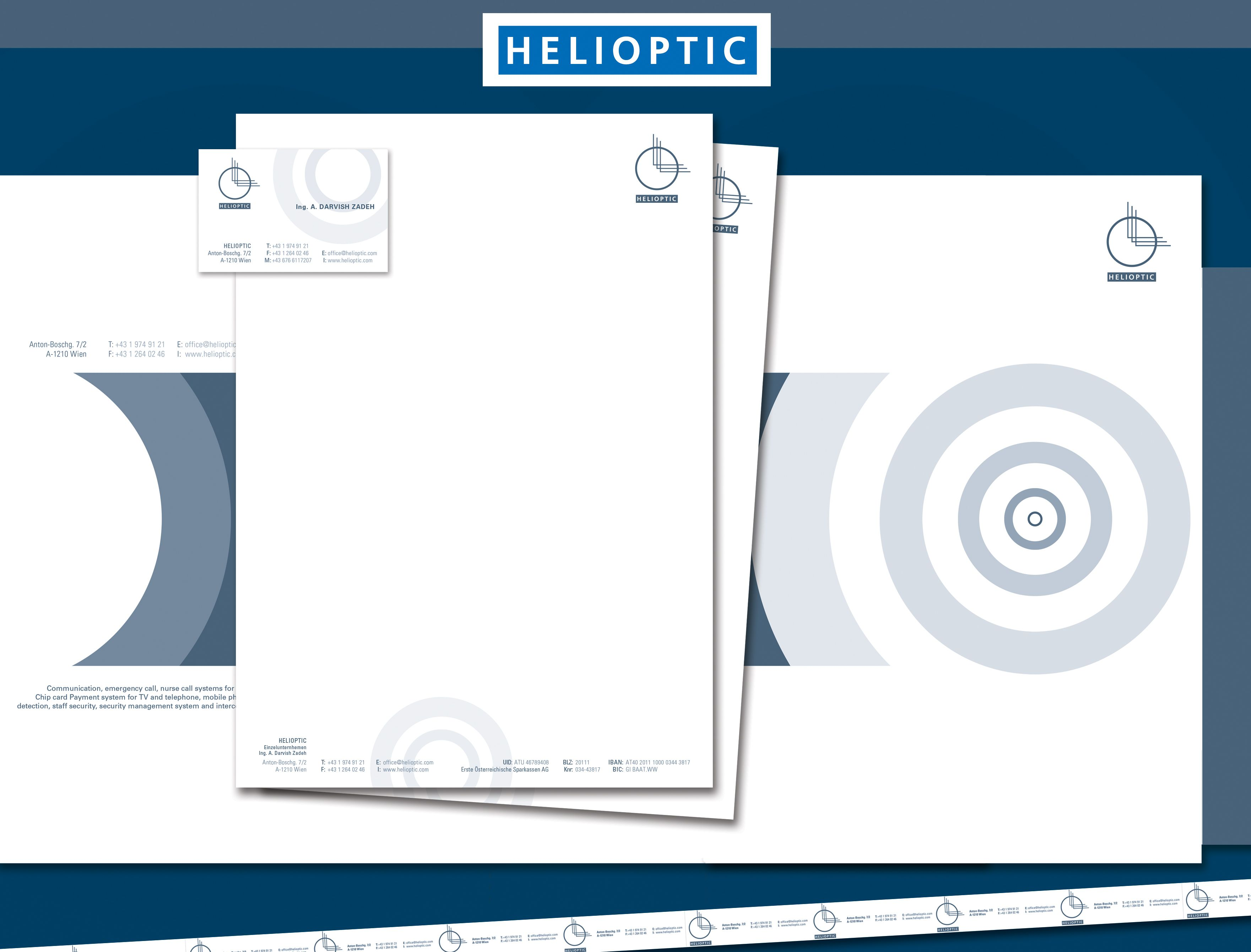 Client: Helioptic  Call and Alert Systems Branding, Design all Prints, Website