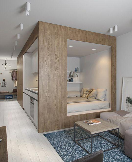 Pin de m c en dreamy bedrooms pinterest loft dise o for Diseno apartaestudio