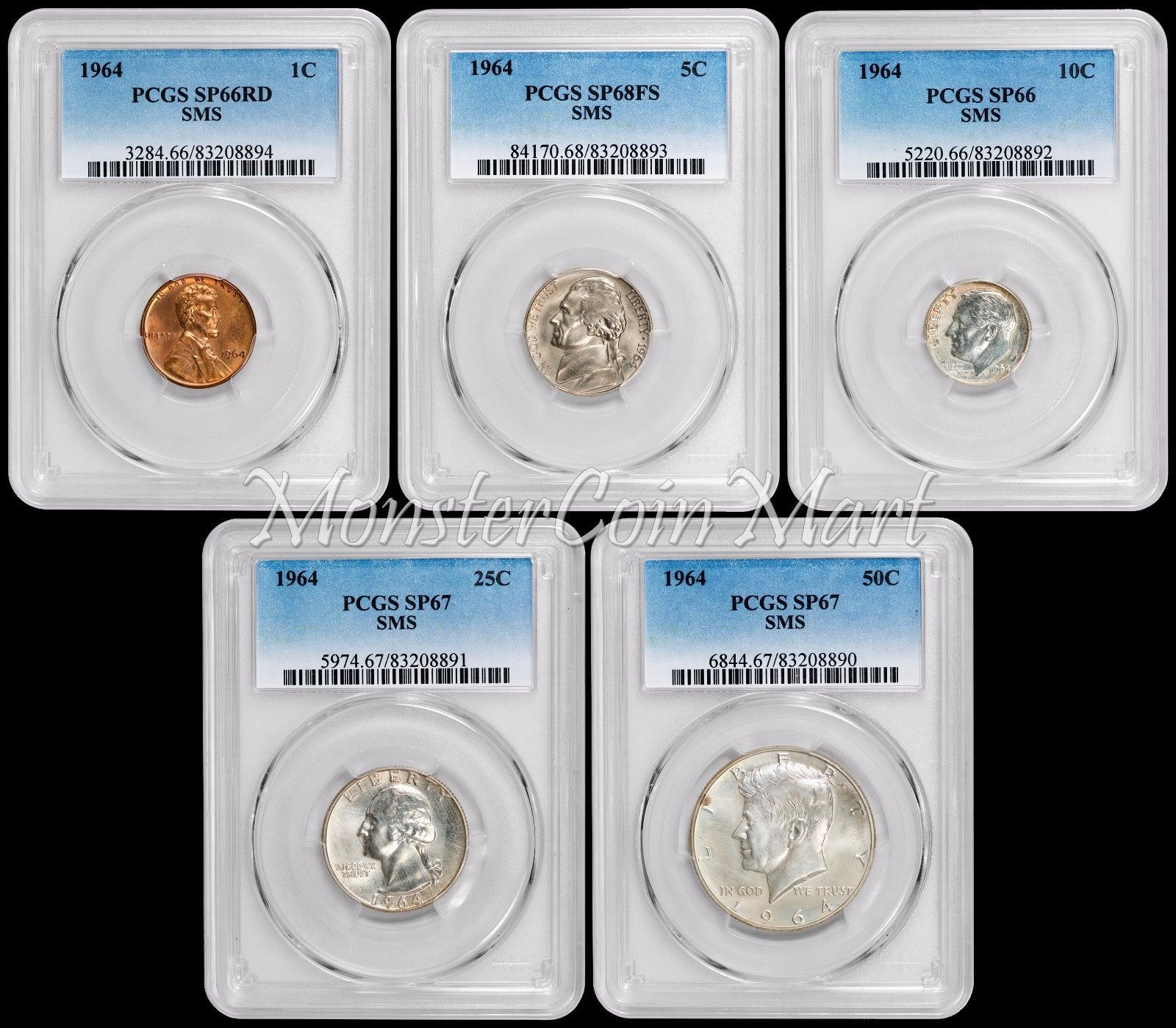 1964 SMS (Special Mint Set) Coins Complete High Grade Set (PCGS