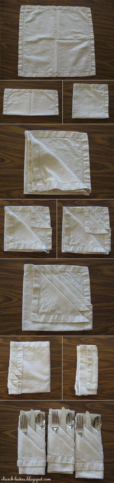 Handy Kitchen Tip > How to fold a fancy cloth napkin