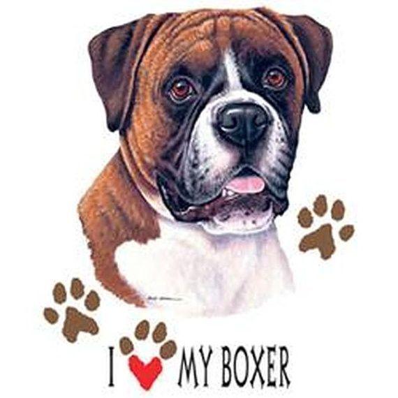 I Love My Boxer Dog on Unisex White T Shirt 07772HD4