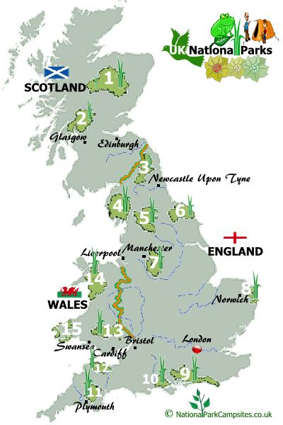Map Of Uk National Parks For Trip Planning England