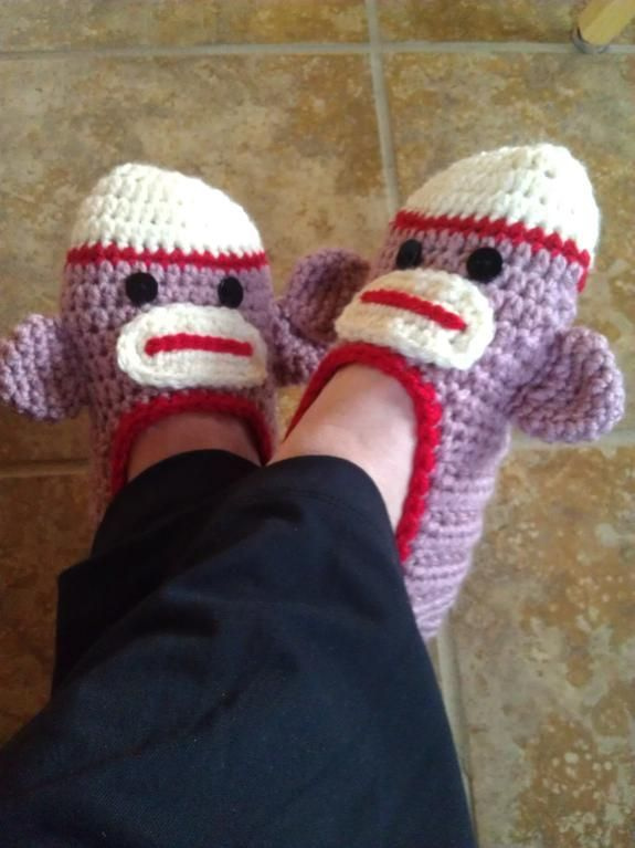 aeb806283cc Looking for crocheting project inspiration  Check out ladies sock monkey  slippers by member Suzi44.