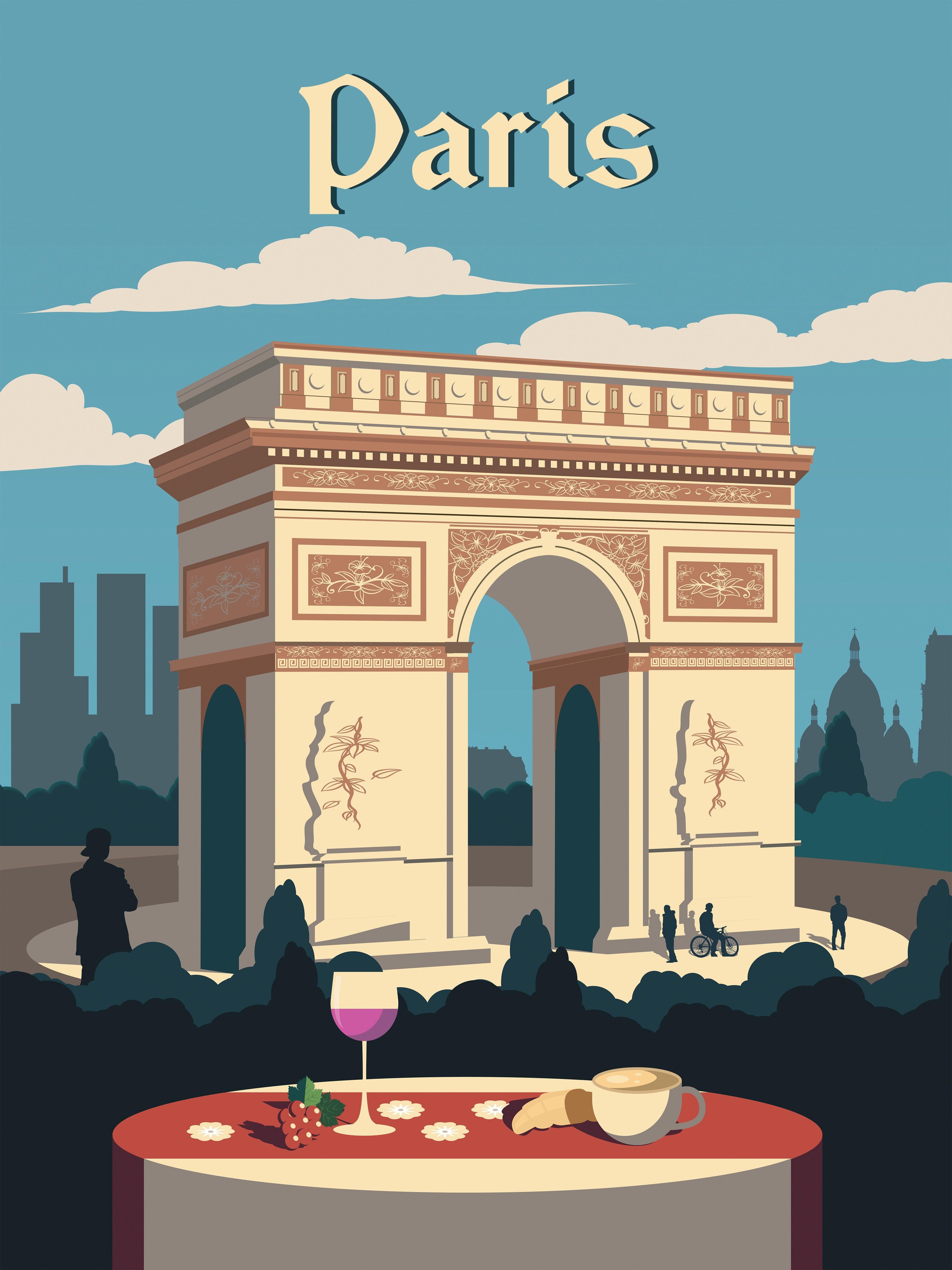 Paris Travel poster vintage retro skyline city map print art artwork
