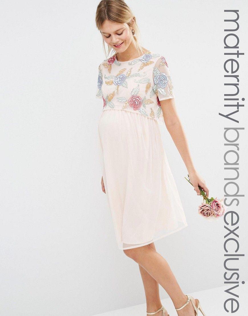 Mayamaternityalloverroseembellished2in1skaterdress fashion ombrellifo Gallery