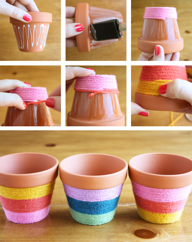 Yarn-Wrapped Flower Pots - Celebrations at Home