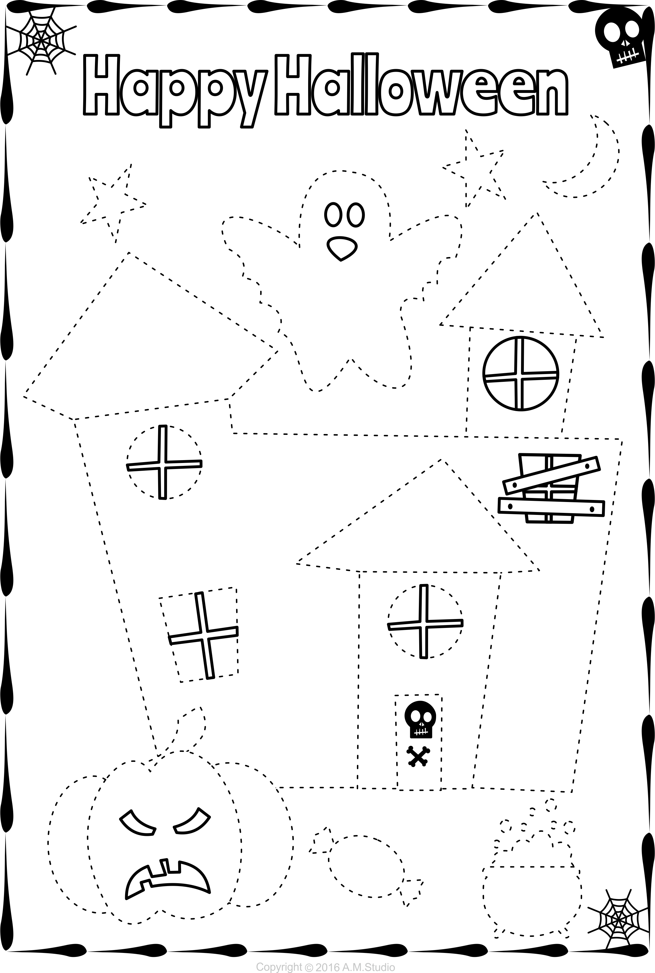 13 Halloween Themed Trace And Color Pages For Kids Halloween Preschool Halloween Worksheets Halloween School [ 3392 x 2283 Pixel ]