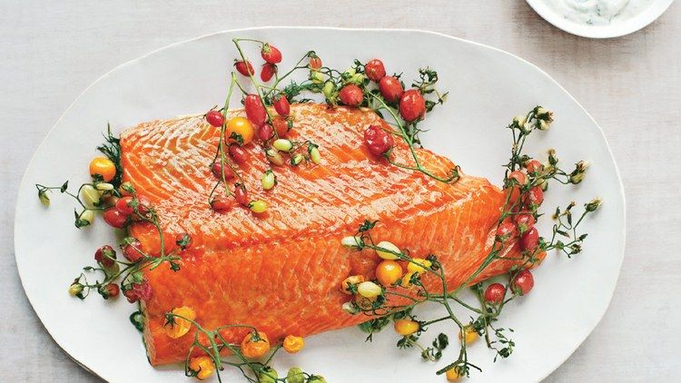 Slow Roasted Salmon With Cherry Tomatoes And Couscous Recipe