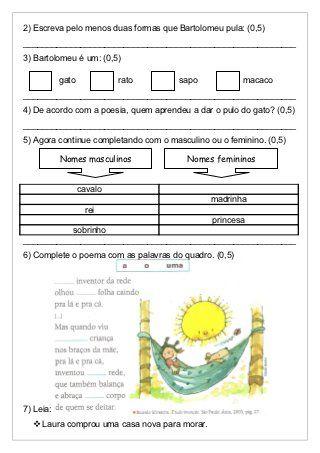 Avaliacao De Portugues 2º Bim Com Imagens Avaliacao De