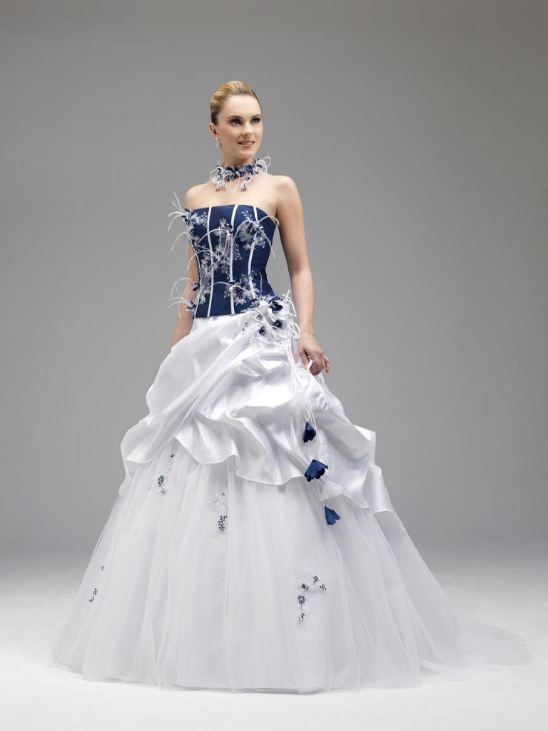 Annie Couture 2017 Royal Blue And White Wedding Dresses 8514 Strapless Feather A Line Corset Bridal Gowns Brush Train Sleeveless Ruffled
