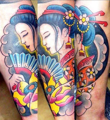 Old School Geisha Tattoo by Stoty Tattooer