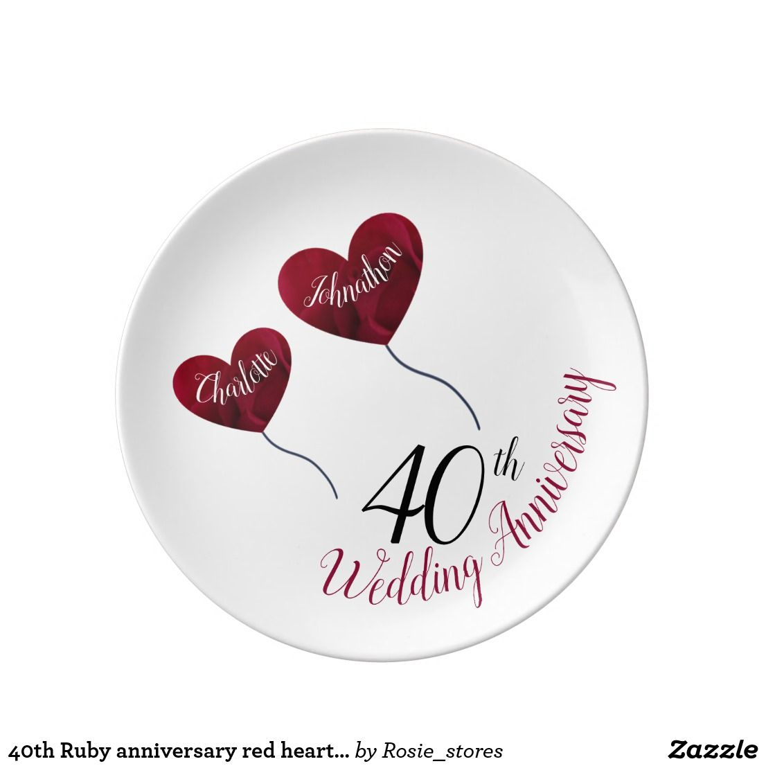 40th Ruby anniversary red heart balloons on white Plate