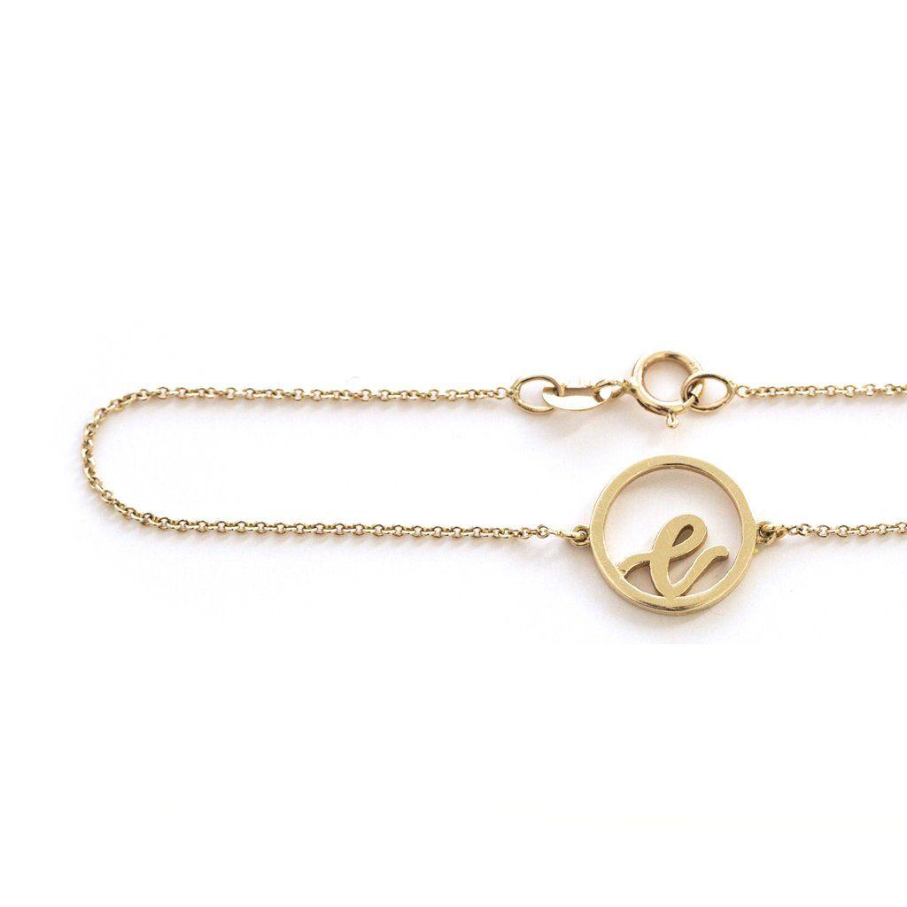 Description karat yellow gold disc initial bracelet details