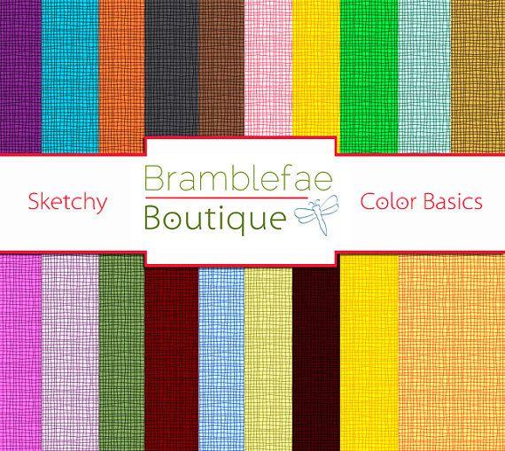 Sketchy Color Basics Digital Scrapbook Paper