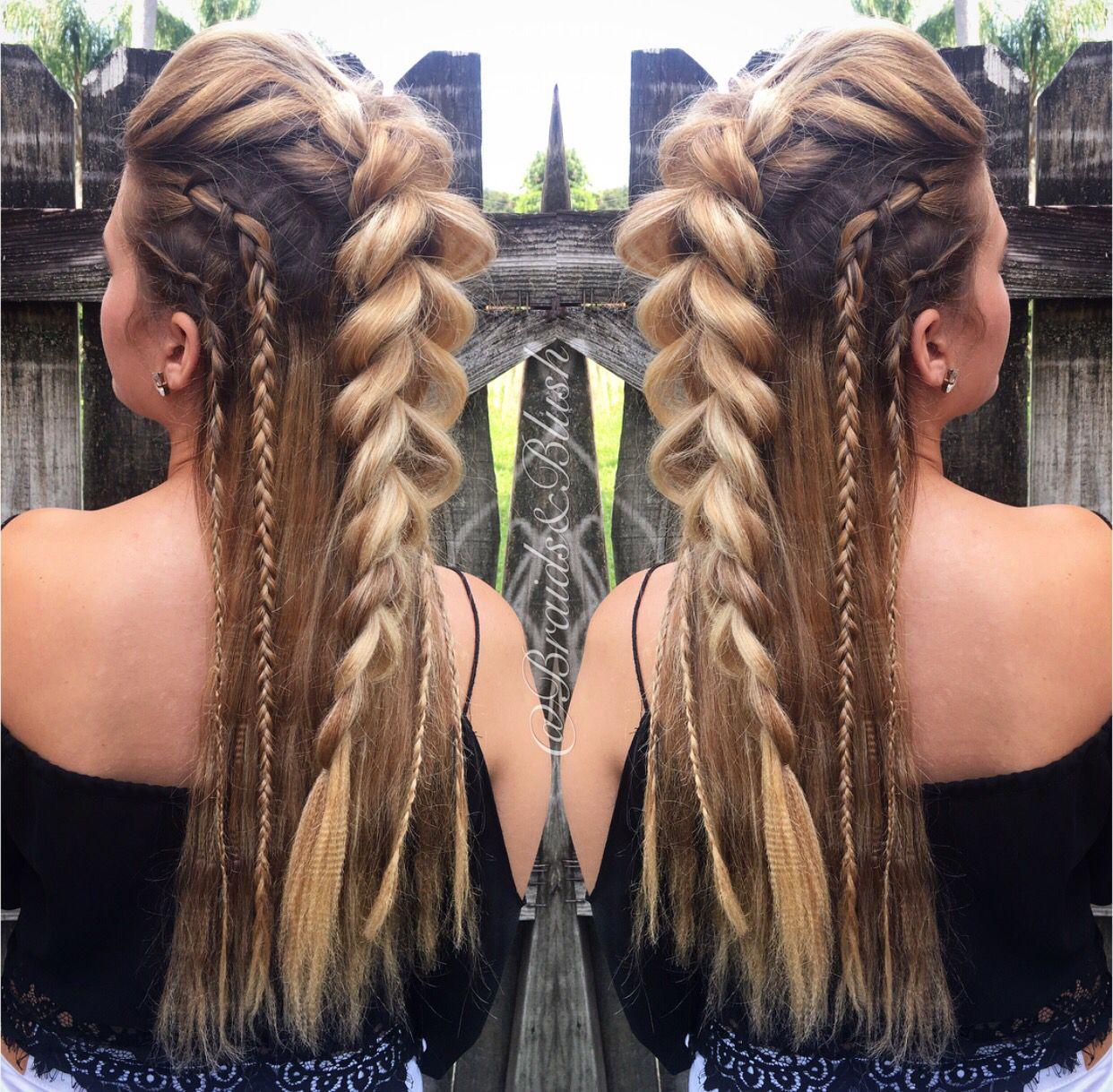 Braidsandblush faux mohawk and side braids festival hair boho up do