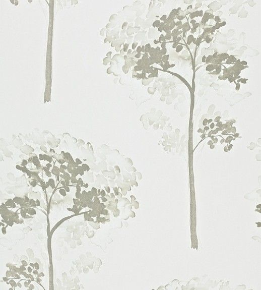 Katsura Ivory (110888) - Harlequin Wallpapers - A painterly tree motif with a beautiful, metallic lustre effect.  Shown in the ivory grey colourway.  Please request sample for true colour match. Wide width product. Paste the wall.