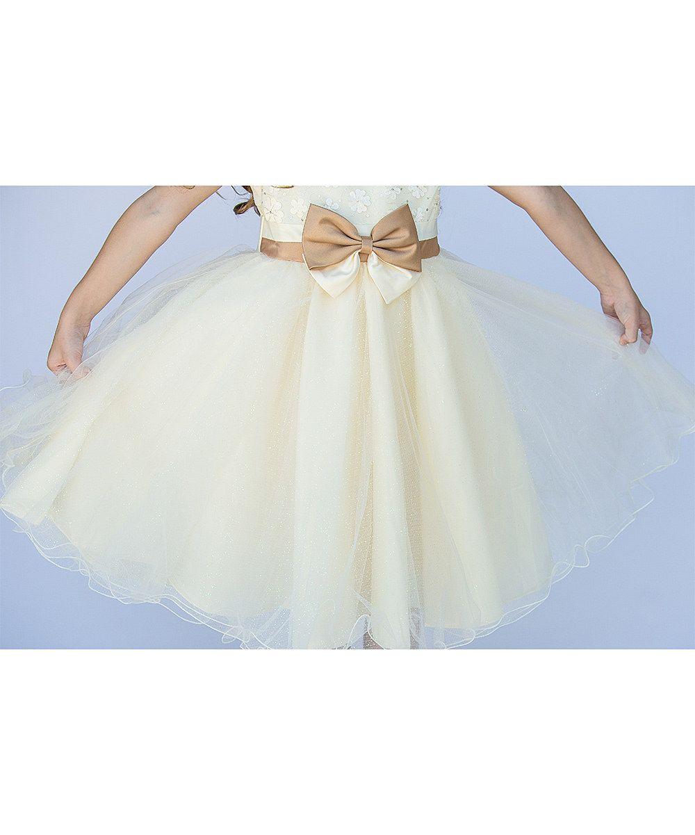 Ivory Tulle-Skirt Bow Dress - Toddler & Girls