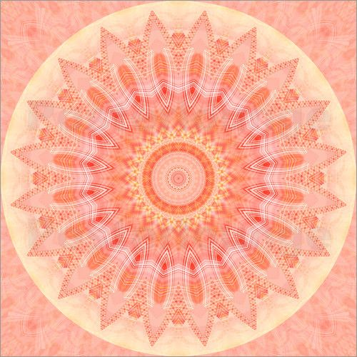 Christine Bässler Mandala soft orange 2 Bildwirkerei