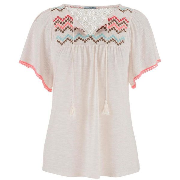 maurices Peasant Top With Embroidery And Flutter Sleeves ($13) ❤ liked on Polyvore featuring tops, beige, embroidered lace top, maurices, white tops, short tops and beige lace top