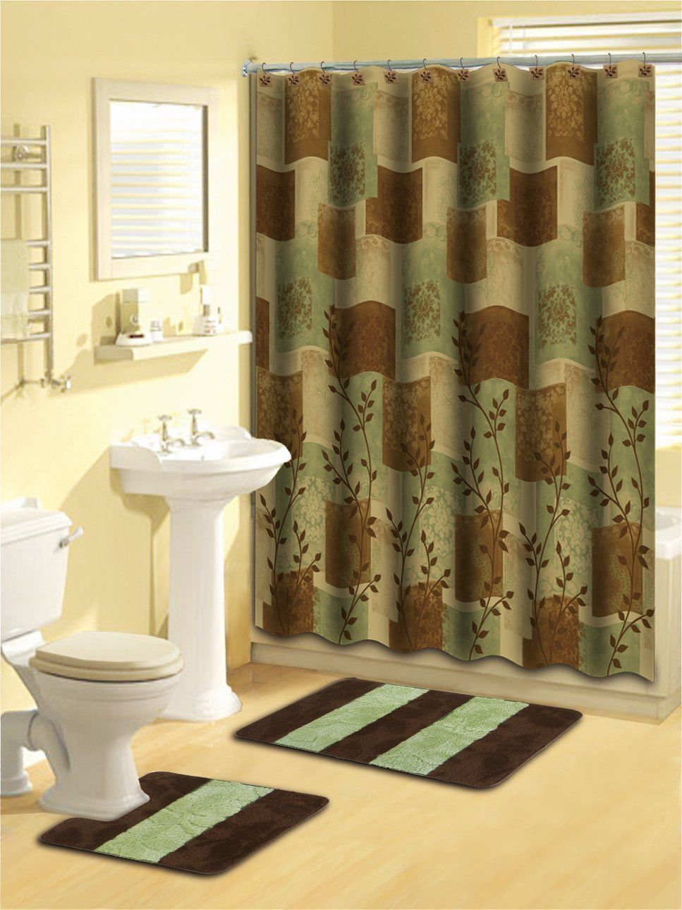 Bathroom Green Brown 15 Pc Soft Thick Rugs Shower Curtain