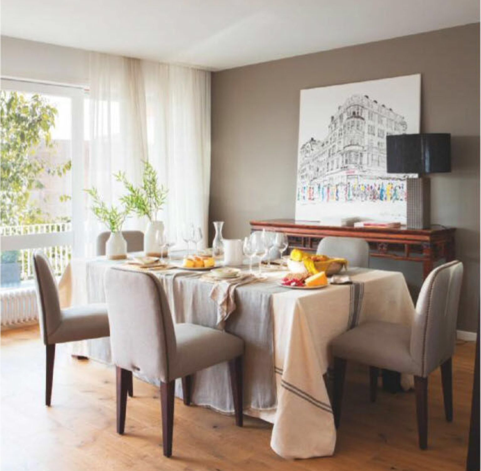 Mesa decorada para la revista El Mueble con mantel rústico con raya ...