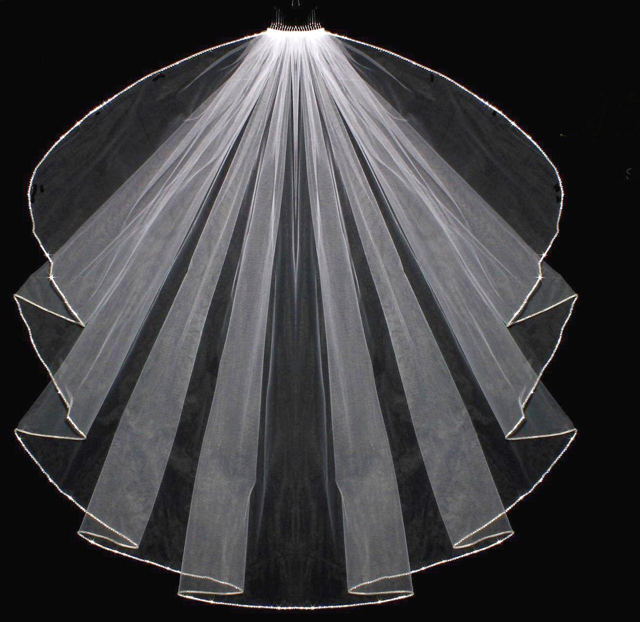 Cascade Fingertip Length Wedding Veil with Swarovski