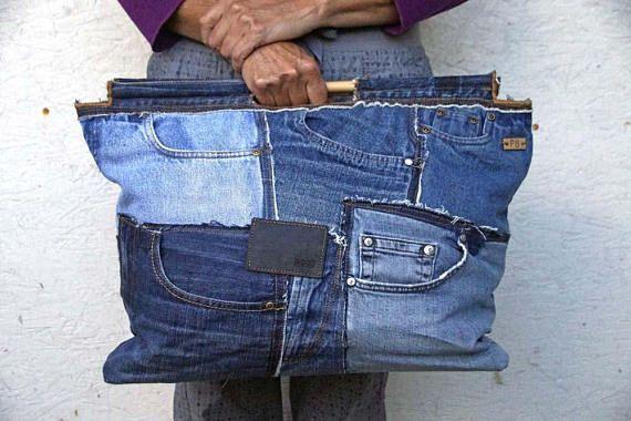 huge selection of d5ec6 9654c Recyclé Jeans Jeans sac cabas sac Jeans marché Blue ...