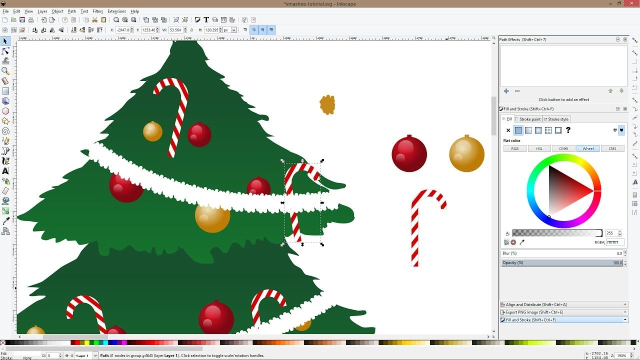 How To Draw A Christmas Tree And Ornaments With Inkscape Christmas Tree Tree Christmas