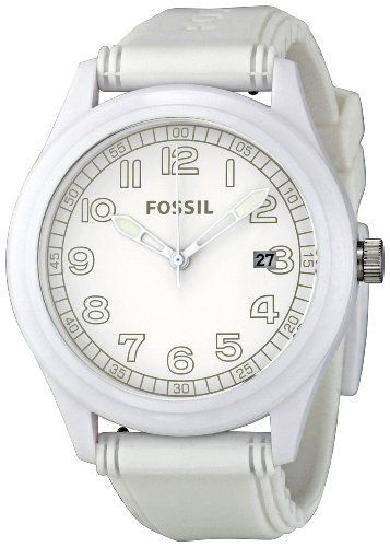 Fossil Men's JR1295 White Dial Watch Fossil. $55.90. Water-resistant to 50 m (165 feet)). Case diameter: 43 mm. Quartz movement. White silicone. Mineral